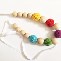 Crochet nursing necklace, Colorful teething beads, Baby gift