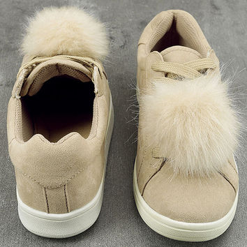Madden Girl Baabee Nude Suede Pompom Sneakers
