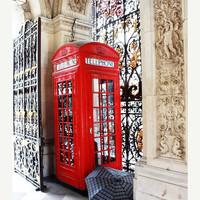 SPRING SALE London Photography: Red Phone Booth and Umbrella, Photography Print 8x10, Travel Photography, Wall Art, Home Decor