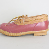 80s Rosy DUCK BOOTS - Vintage 1980s Pink Gardening Shoes - size 6 / 36