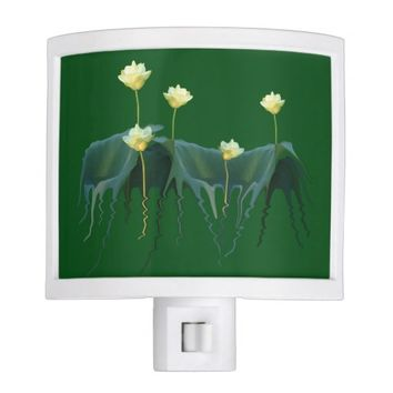 Whimsical White Lotus Flowers Green Lily Pads Yoga Night Light