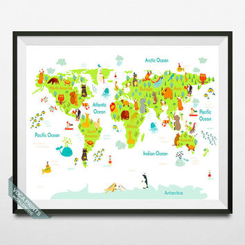 Animal World Map, World Map Print, Animal Map, Animal Poster, Wall Decor, Nursery Decor, Playroom Decor, Kids Room Art, Back To School