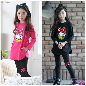 Baby girl's clothes Spring and Autumn Kids Clothing Girls Cartoon printing  Baby high-Quality Casual Clothes 2-8 y Child clothes