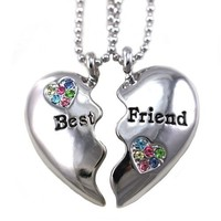 Best Friends Forever Multicolor Heart Necklace Engraved Pendant