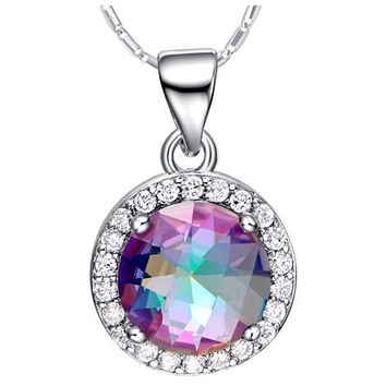 Silver Multi-color 925 Accessories Colorful Gemstone Necklace = 5839695233