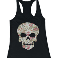 Floral Skull Women's Tanktop Flower Pattern Design Racer back Tank Top for Halloween