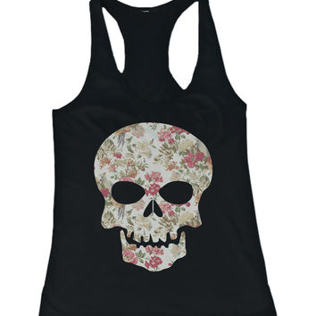 Floral Skull Women's Tank Top Flower Pattern Racer back Tank for Halloween