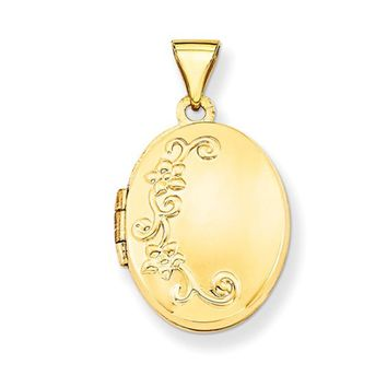 14K Yellow Gold Floral Oval Locket Pendant, 19mm x 17mm