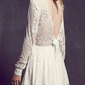 White Patchwork Lace Tie Back Backless Lace-up Bow Homecoming Cute Mini Dress