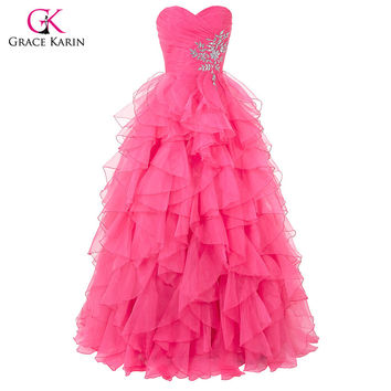 Grace Karin Sweetheart Crystals quinceanera dress ball gown Organza Ruffled Princess Quinceanera Dresses for Sweet 16 Years