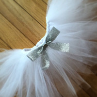white newborn tutu with detachable silver glitter bow, white tutu, baby tutu