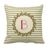 Monogram Holiday, Cream/Green/Red w Wreath Throw Pillows