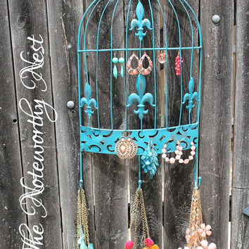 Bird Cage Jewelry Hanger // Jewelry holder // necklace holder // Fleur de lis // earring holder // jewelry hooks // jewelry display