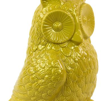 Cute & Adorable Ceramic Owl Figurine In Yellow