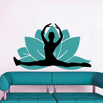 Wall Decals Yoga Lotus Flower Buddha Ganesha Gymnast Vinyl Sticker Decal Decor Home Interior Design Living Room Bedroom Studio MN447