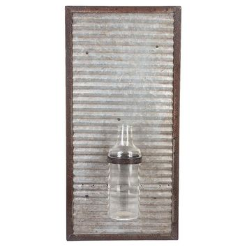 Corrugated Metal Bud Vase Wall Decor | 18-7/8-in