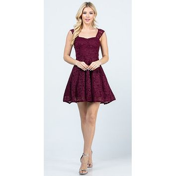 Lace Burgundy Short Dress Skater A-Line Sleeveless