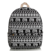 Cute Elephant Canvas Lightweight Backpack