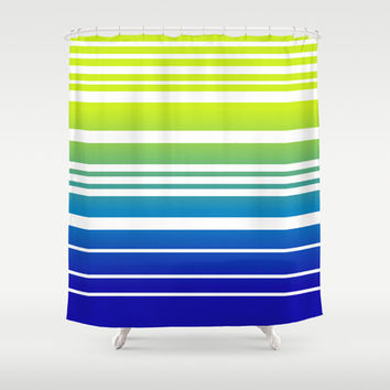 Bay Ombre Stripe: Lime and Blue Shower Curtain by Eileen Paulino