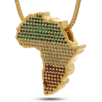 Jungl Julz 14K Gold Rasta Africa Necklace