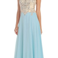 Starbox USA L6098 Tiffany Blue Illusion Bateau Neck Chiffon Jeweled Bodice Cap Sleeves Prom Dress