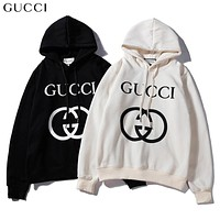 GUCCI Classic Popular Women Men Casual Print Long Sleeve Hooded Velvet Sweater Pullover Top Sweatshirt