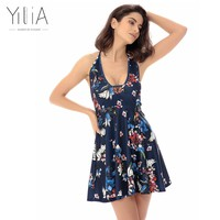 Yilia Sexy Vintage A Line Dress Halter 2017 Women Summer Spaghetti Strap Deep V Floral Print Party Dresses Backless Short Skater