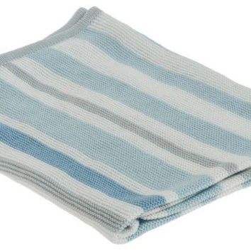 Blue Striped Baby Blanket Knitting Pattern