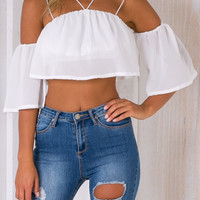White Off Shoulder Strappy Flute Sleeve Crop Top