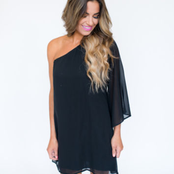 Black One Shoulder Chiffon Dress