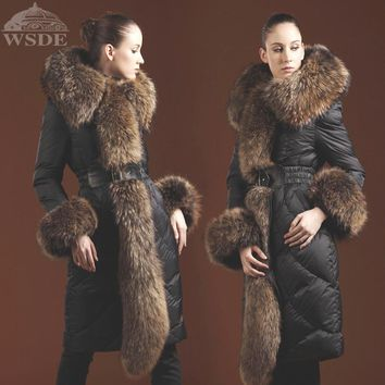 Winter Women's Luxury Large Swandown Fur Collar Thickening Long Design High Quality White Goose Down Coat