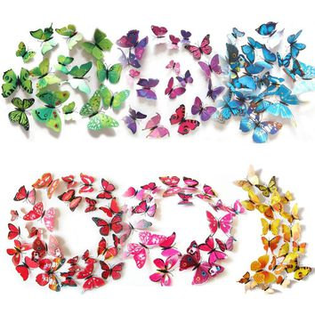 12pcs 3D Butterfly Wall Stickers Fridge Stickers for Kitchen PVC Magnet Wall Sticker Wedding Party Decoration