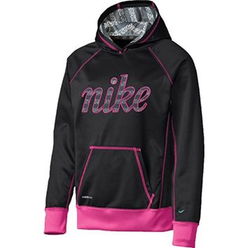 Nike Girls YOUTH 8-20 ATHLETIC HOODY Novelty Hoodie SHIRT PULLOVER BLACK/PINK (L 14-16)