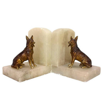 German Shepherd Bookends Art Deco Alabaster Vintage Cast Metal Dog Figurines Animal Library Home Office Gift for Book Lovers Bibliophile