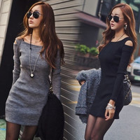 Sexy Women off shoulder Crew Neck Long Sleeve Slim Knit Knitwear Sweater Dress A = 1958447492
