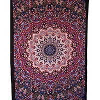 Handicrunchhippie red and blue Tapestry, Hippie Star Tapestries, Bohemian Mandala Tapestries, Throw Bedspread, Home Decor Wall Hanging, Large Table Runner Bed Cover Indian Art, Hippie Wall Hanging, Cotton Bed Sheet, Decor Art Wall Hanging