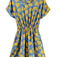 Polyester Light Blue Short Sleeve Round Neck Heart-shaped Print Dress ( color) style 823dr002001 in  Indressme