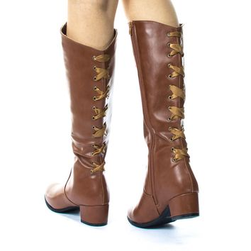 Poppy1 Equestrian Riding Boot w Block Heel Rear Corset Ribbon Lace
