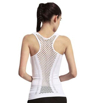 Knitted Sleeveless Breathable Quick Dry Yoga Shirt