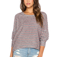 Free People Little Ann Stripe Pullover in Grey Combo