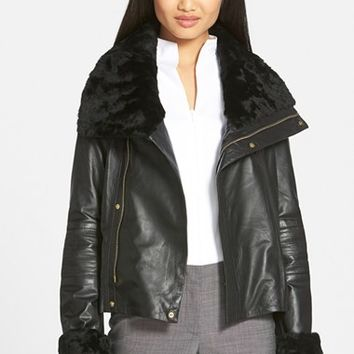 Women's Badgley Mischka 'Samara' Leather Jacket with Genuine Shearling ,
