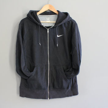 Nike Zip up Hoodie Black Hooded Sweatshirt White Logo Fleece Lining Hoodie Grunge Jacket Hipster Minimalist Unisex 90s Vintage Size  L - XL
