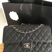 AUTHENTIC CHANEL QUILTED CAVIAR MEDIUM DOUBLE FLAP BAG