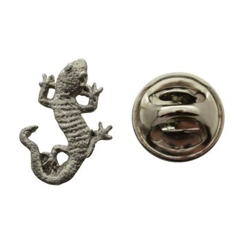 Gecko Mini Pin ~ Antiqued Pewter ~ Miniature Lapel Pin