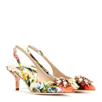 dolce & gabbana - bellucci embellished brocade sling-back pumps