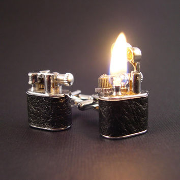 LEATHER Working Lighter Cufflinks