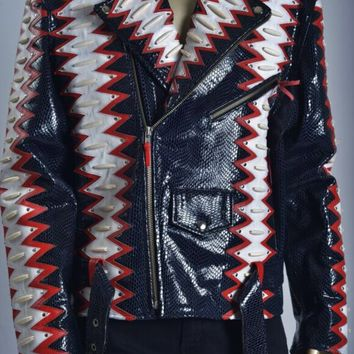 MAN STEALTH MOTO JACKET  BLACK RED WHITE  PYTHON JACKET MENS