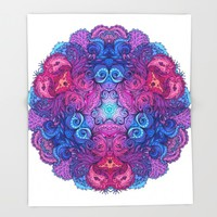 Indian Mandala 02 Throw Blanket by Aloke Design