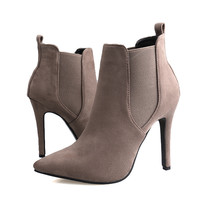 New Fall Popular Suede High-Heeled Pointed Martin Boots
