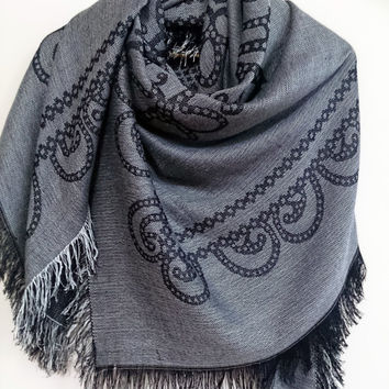 Black blanket scarf girlfriend gift reversible textured blanket scarf wife gift cotton scarf birthday gift mom gift husband gift mens gift